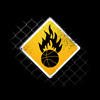 ball, basketball, design, fire, flames, graphic, humorous, icon, sign, sports, symbol, warning